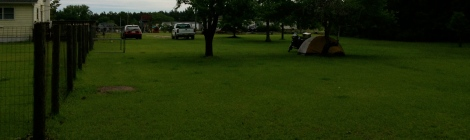 camping on the ranger's lawn