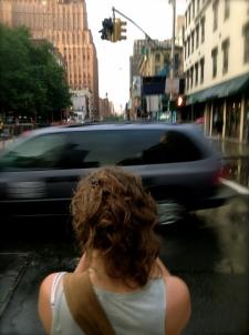 girl, van, buildings, sky