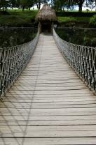 shaky rope bridge at the basaltic prisms of Hidalgo