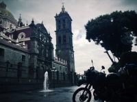 parked in front of the cathedral of Puebla, Puebla