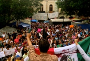 protesters gather in the zocalo of Oaxaca to demand justice for the disappeared students of Ayotzinapa. Oaxaca, Oaxaca