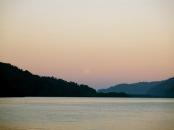 the faint moon rising over Golfito, Costa Rica