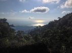 bumpy steep dirt road for hours, one rear brake failure, one fall with a banged knee, one face plant and one beautiful view of the pacific, Costa Rica