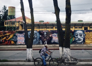 a morning commuter passes by a vibrant wall full of two-dimensional life, Quetzaltenango, Guatemala