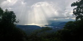 spotlights from the heavens on Lago de Llopango, El Salvador
