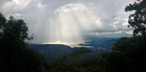 spotlights from the heavens on Lago de Llopango, El Salvador