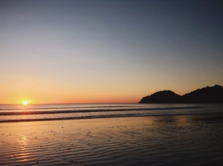 quiet sunset on a faraway beach, El Ostional, Nicaragua