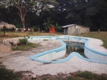 unusually shaped pool, tied up pig and roaming roosters, Bahía del Pirata, Costa Rica