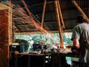 Diego carpenteers in the ecovillage workshop, Ecoaldea Feliz, Cundinamarca
