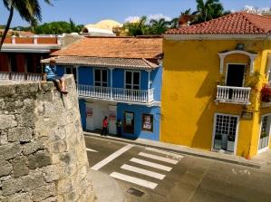 White line color wall. Cartagena