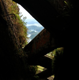 Magical lurking lakes behind surreal stairsets, Piedra del Peñon, Antioquia