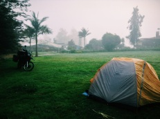 Colombian hospitality: camping on front lawns, farms, nurseries and often waking up to tinto (coffee) and the offer to take a shower. Beats hotels, campgrounds or sketchy stealth camping. Antioquia