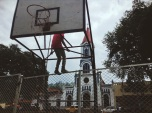 A headless boy hangs out in the central plaza of San Francisco, Cundinamarca