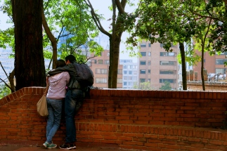 Two people in love hang out in the best spot of La Macarena ;) , Bogotá