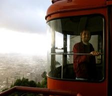 The friendly red trolley man, Monserrate, Bogotá