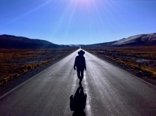 Dark shadow on a bright road. Colca Canyon