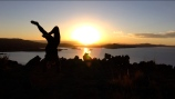 There's no right or wrong way to stand. Lake Titicaca