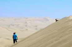 Looking up to a best friend. Huacachina