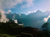 Misty morning hop. Machu Picchu