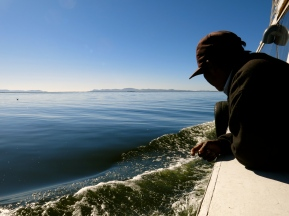A Lake Titicaca local looks out into his backyard.