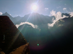 Light spray. Machu Picchu