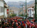 Colorful crowds of Cusco
