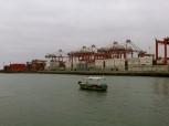 Small boat in a big harbor. Callao